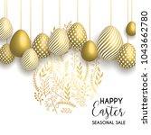 happy easter lettering... | Shutterstock .eps vector #1043662780