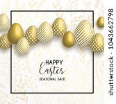 happy easter lettering... | Shutterstock .eps vector #1043662798