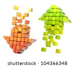 Pair of arrow icon made of glossy cubes isolated on white - stock photo