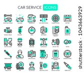 car service   thin line and... | Shutterstock .eps vector #1043663929