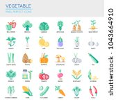 vegetable   thin line and pixel ... | Shutterstock .eps vector #1043664910