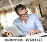 handsome businessman with... | Shutterstock . vector #104366516