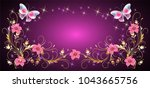 floral ornament frame with...
