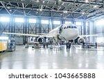 passenger airplane on... | Shutterstock . vector #1043665888