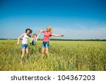 three families have fun in the... | Shutterstock . vector #104367203