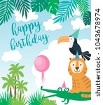 happy birthday party poster... | Shutterstock .eps vector #1043678974
