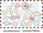 composition with collection of... | Shutterstock .eps vector #1043679844