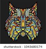 patterned head of lynx. adult... | Shutterstock .eps vector #1043680174
