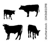 vector silhouettes of cows ...   Shutterstock .eps vector #1043681098
