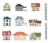 cartoon houses exterior front... | Shutterstock .eps vector #1043690470