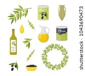 cartoon olive oil elements set... | Shutterstock .eps vector #1043690473