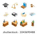 Law Court 3d Icons Set...