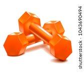realistic detailed 3d dumbbells ... | Shutterstock .eps vector #1043690494