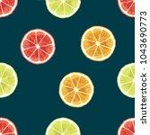 watercolor fresh slice cut... | Shutterstock . vector #1043690773