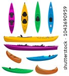 plastic colorful kayaks with... | Shutterstock .eps vector #1043690959