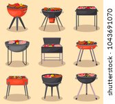 different types barbecue grills ... | Shutterstock .eps vector #1043691070