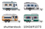 side view camping trailers... | Shutterstock .eps vector #1043691073