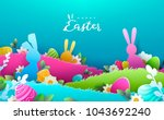 happy easter paper art... | Shutterstock .eps vector #1043692240