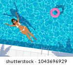 sexy woman in swimming pool... | Shutterstock .eps vector #1043696929