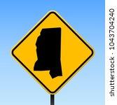 mississippi map road sign.... | Shutterstock .eps vector #1043704240