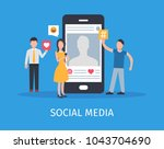 young people using mobile... | Shutterstock .eps vector #1043704690