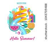 hello summer. vector... | Shutterstock .eps vector #1043705488