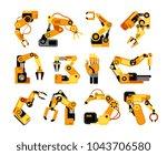 factory robot arms... | Shutterstock .eps vector #1043706580