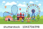 cartoon amusement park with... | Shutterstock .eps vector #1043706598