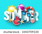 summer 3d text vector banner... | Shutterstock .eps vector #1043709220