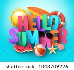 hello summer vector banner... | Shutterstock .eps vector #1043709226