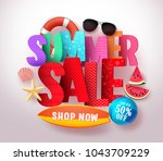 summer sale vector banner... | Shutterstock .eps vector #1043709229