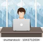 businesswoman working on laptop ... | Shutterstock .eps vector #1043712034