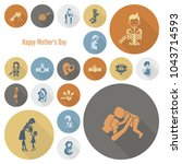 happy mothers day simple flat...   Shutterstock .eps vector #1043714593