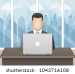 businessman working on laptop... | Shutterstock .eps vector #1043716108