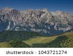 catinaccio rosengarten mountain ... | Shutterstock . vector #1043721274