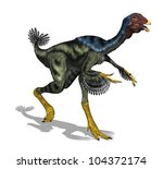 The Caudipteryx was a feathered, bird-like dinosaur that was the size of a peacock and lived during the early Cretaceous Period - 3D render. - stock photo