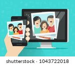 smartphone streaming photo... | Shutterstock .eps vector #1043722018
