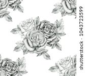 bouquet of roses seamless... | Shutterstock . vector #1043723599