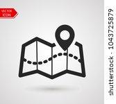 tourist map icon logo. pin... | Shutterstock .eps vector #1043725879