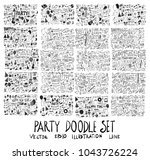hand drawn doodle vector party... | Shutterstock .eps vector #1043726224
