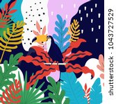 tropical jungle leaves... | Shutterstock .eps vector #1043727529