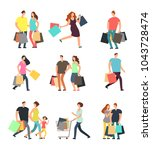happy shopping people. man ... | Shutterstock .eps vector #1043728474