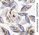 floral seamless pattern with... | Shutterstock . vector #1043734516