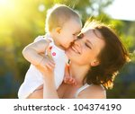 happy mom and daughter smiling... | Shutterstock . vector #104374190