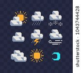 weather symbols web icons pixel ... | Shutterstock .eps vector #1043744428