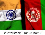 india and afghanistan flag... | Shutterstock . vector #1043745046