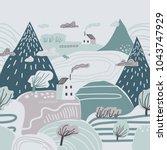 mountain landscape. lonely...   Shutterstock .eps vector #1043747929