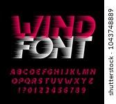 wind alphabet font. fast speed... | Shutterstock .eps vector #1043748889