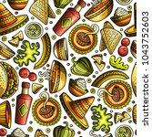 cartoon hand drawn latin... | Shutterstock .eps vector #1043752603