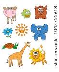 cartoon animals characters set... | Shutterstock .eps vector #1043755618